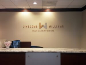 office reception signs - Houston, TX - Liscomb Williams