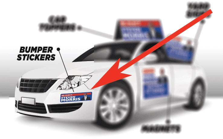custom campaign signs - bumper stickers
