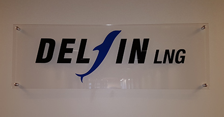 clear acrylic sign with standoffs